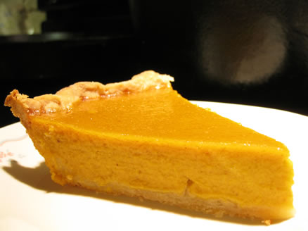 fresh pumpkin pie one slice