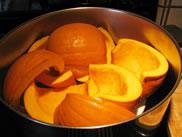 fresh pumpkin slices in pot