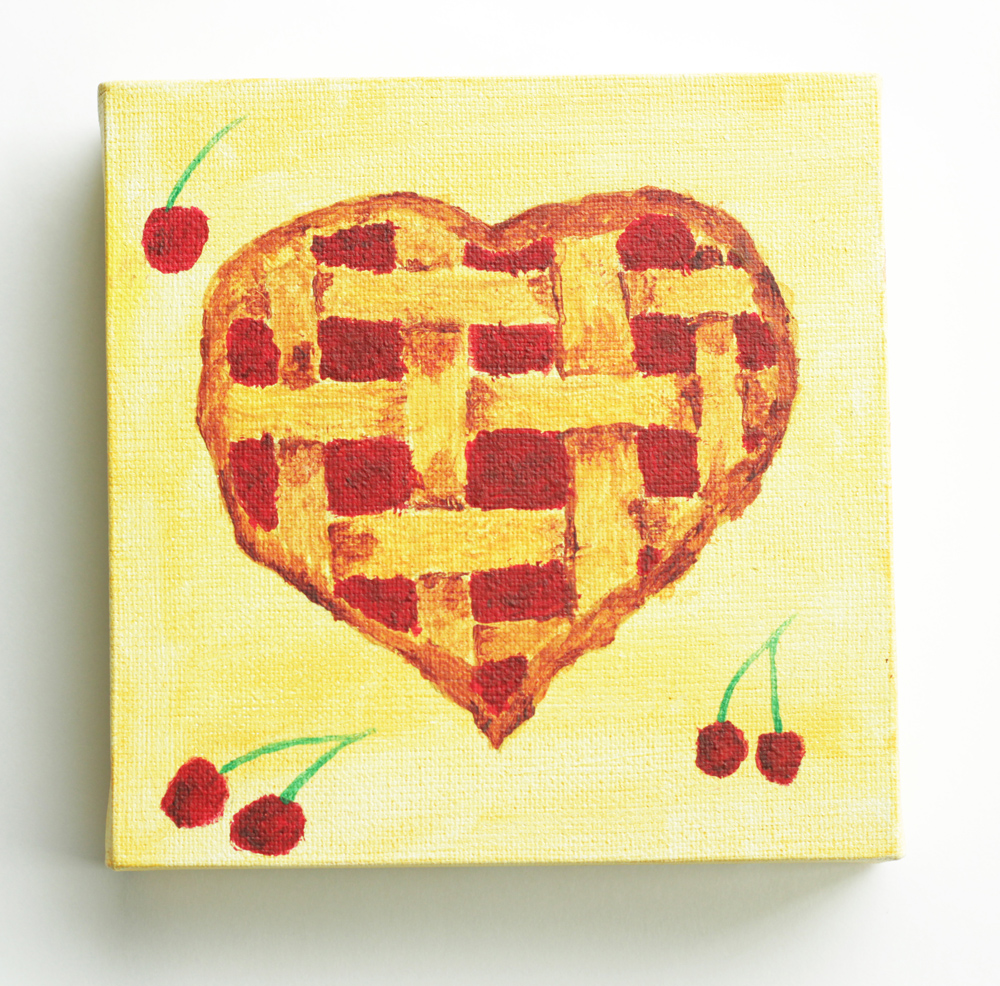 painted heart I love you cherry pie