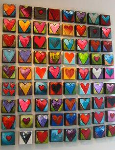 wall of painted hearts